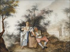 A GLASS PAINTING ON REVERSE depicting a peasant couple, Augsburg, middle of 18th century. Worn.