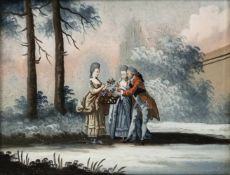 A GLASS PAINTING ON REVERSE depicting a Rococo gentleman and two women with flower basket in a
