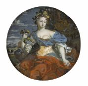 A GLASS PAINTING ON REVERSE, Switzerland, 18th century. Allegory of Autumn. Minor wear.