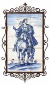 JULIUS CEASAR ON HORSEBACK. Netherlands, 19th century. Blue painted fayence tiles, framed in wrought