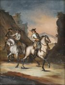 A GLASS PAINTING ON REVERSE depicting three horseman in a valley, probably Augsburg, c. 1760/70.