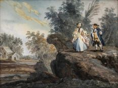 A GLASS PAINTING ON REVERSE, Augsburg, middle of 18th century. A Rococo couple in a river landscape.