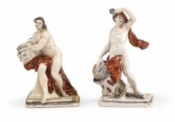 TWO NYMPHENBURG COLD PAINTED PORCELAIN FIGURES, c. 1765/70 depicting Astronomy and Fame. Marked in