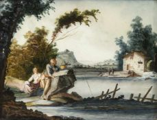 A GLASS PAINTING ON REVERSE, Augsburg, middle of 18th century. A fisher's couple in a river