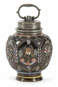 DIPPOLDISWALDE POLYCHROME PAINTED DARKBROWN STONEWARE SCREW BOTTLE, c. 1670/80. Pewter mounts marked