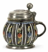 DIPPOLDISWALDE BROWN STEIN, polychrome pattern of pomegranates, pewter mounts. C. 1680. Damages.