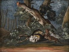 A GLASS PAINTING ON REVERSE dipicting a brock hunt, Augsburg, 2nd half of 18th century. After a