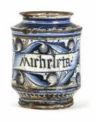 "AN EARLY ITALIAN MAIOLICA PHARMACY JAR ""ALBARELLO"", Faenza, 15th century. Scientific inscription and"