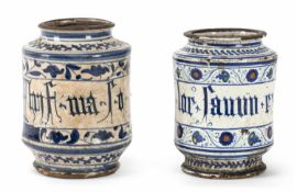 TWO ITALIAN BLUE AND WHITE AND POLYCHROMY PAINTED AND INSCRIBED MAIOLIKA ALBARELLI, VENICE OR