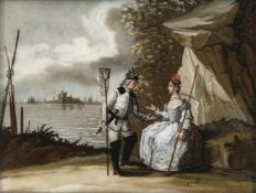 A GLASS PAINTING ON REVERSE DEPICTING THE ELEMENT WATER, Augsburg, c. 1750. A fisher's couple in