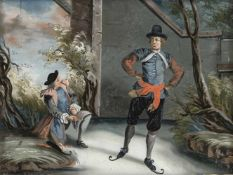 A GLASS PAINTING ON REVERSE depicting Dutch ice skater, Augsburg, middle of 18th century. Minor