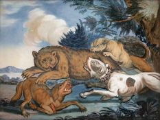 A GLASS PAINTING ON REVERSE depicting a bear hunting, probably Augsburg, middle of 18th century.