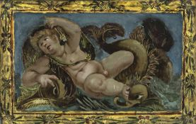 A GLASS PAINTING ON REVERSE depicting a putto as Neptune, probably Italy, 17th/18th century. Old