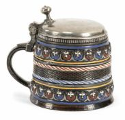 DIPPOLDISWALDE RELIEF PATTERN AND PAINTED DARK BROWN STEIN, c. 1660/80. Pewter cover. Cracked.