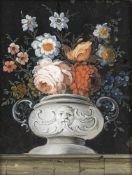 A GLASS PAINTING ON REVERSE, Augsburg, middle of 18th century. Stillife of flowers. Minor wear, min.