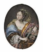 GLASS PAINTING ON REVERSE, probably Northern Switzerland, 1st half of 18th century. Judith with