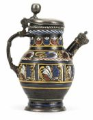 A DIPPOLDISWALDE BROWN STEIN WITH PAINTED AND RELEIF PALM LEAF PATTERN, c. 1680. Pewter mounts,
