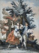 "A GLASS PAINTING ON REVERSE, Augsburg, 2nd half of 18th century. The Element ""Fire"" of a series."