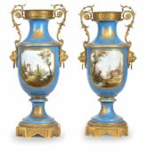 A PAIR OF BIG FRENCH/SEVRES BRONZE MOUNTED PORCELAIN VASES, middle of 19th century. Blue celeste