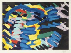 "Appel, KarelAmsterdam, 1921 - Zürich, 200654 x 73,5 cm,R.""Moving in blue"". Farblithogra"