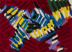 "Appel, KarelAmsterdam, 1921 - Zürich, 200655 x 75 cm,R.""Flying owl"". Farbserigraphie au"