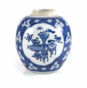 Unterglasurblauer Schultertopf mit Dekor von Antiquitäten