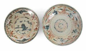 Zwei Swatow-Teller aus Porzellan