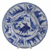 Kraak-Teller mit Darstellung von Guanyu auf seinem Pferd