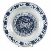 Unterglasurblauer Teller mit Dekor der 'Acht buddhistischen Embleme'