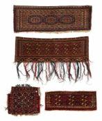 Vier geküpfte Taschenfronten, u.a. Torba/Mafrash