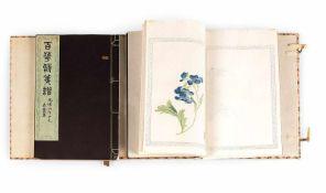 Buch mit zwei Bänden über Briefpapiermuster und Gedichte über Blumen
