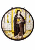 Bleiglasfenster mit Heiliger Scholastika