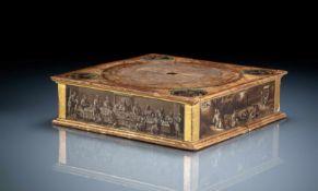 Seltener Reliquien-Stand mit polychromer und Grisaille-Malerei