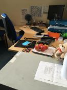 Contents of the office comprising, desk, pedestal, 2 x armchairs, visitor's chair, office chair, 2 x
