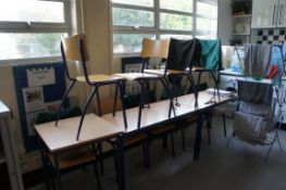 3 x tables (2 x 1200 x 600mm, 1 x 600 x 600mm), 9 x chairs