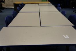 5 x meeting tables, 2 x exam tables, 10 x steel frame chairs