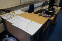 Work station comprising, 2 x desks, three drawer pedestal, gas lift chair