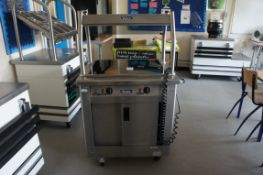 Victor hot food cupboard with hot plate and heated canopy over