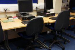 6 x cantilever frame desks, 6 x gas lift chairs
