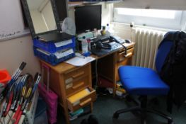Contents of room comprising, kneehole desk, gas lift chair, Stone Windows 7 PC, desk fan