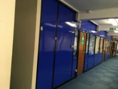 Demountable partition wall with mild steel frame and polycarbonate and glazed insert panels with thr