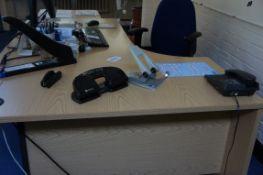 Work station comprising, curve front desk, three drawer pedestal, gas lift chair pedestal fan