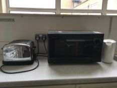Microwave, toaster, kettle