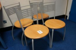 4 x steel frame bistro chairs