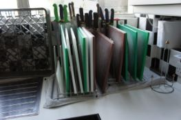Miscellaneous lot comprising, kitchen tools, knives, chopping boards, serving spoons, whisks, racks,