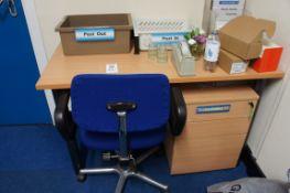 Work desk, gas lift chair three drawer pedestal