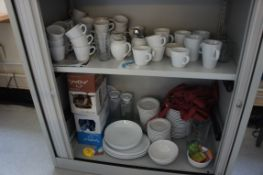 Miscellaneous lot of white crockery comprising, espresso cups, saucers, coffee mugs, milk jugs, serv