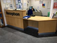 Contents of Reception comprising, 4 piece modular desk, 2 x office chairs, cupboard, pedestal, 2 x c