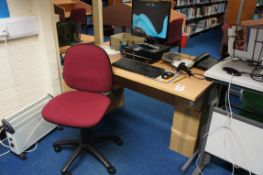 Miscellaneous lot comprising, cantilever frame desk, 2 x four drawer filing cabinet, gas lift chair,