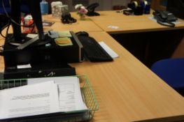 Three piece reception desk with three drawer pedestal